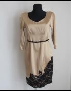 Piękna złota sukienka z czarną koronką 40 L wesele suknia...