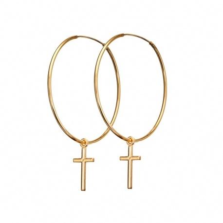 ANIA KRUK kolczyki Urban Chic krzyż krzyżyk pozłacane 35 cm