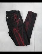 Zara czerwone spodnie rurki rock ripped dziury jeansy...
