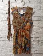 Sukienka S M L boho rozkloszowana falbany nude...