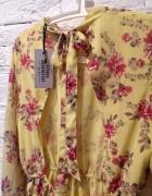 Sukienka L XL boho kwiaty rozkloszowana nude floral bez pleców ...