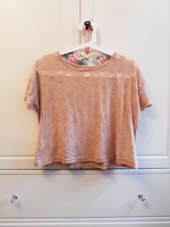 crop top koszulka grochy brzoskwioniowa M 38