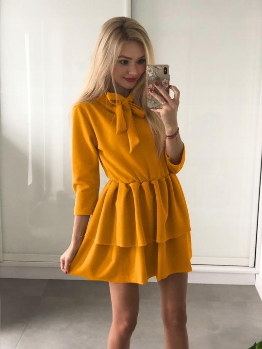 Sukienka musztardowa mini wiązany dekolt rozmiar S...