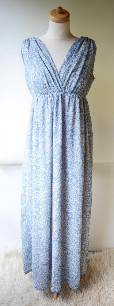 Sukienka Wzory H&M Long Maxi XS 34 Długa Niebieska...