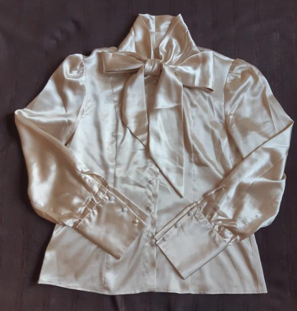 Satynowa elegancka koszula z kokardą rozm 36