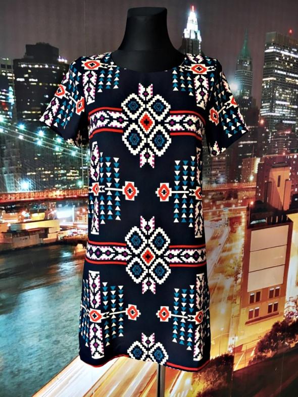new look sukienka luźny fason aztecki wzór nowa 36 S...