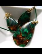 Malachit z pirytem ekskluzywny zestaw biżuterii w złocie...