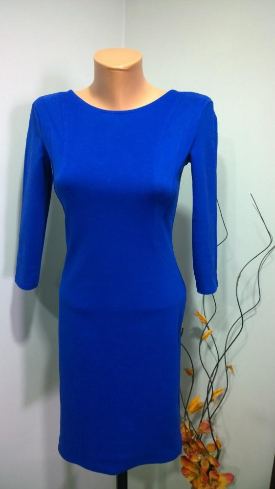 kobaltowa sukienka z zamkiem...