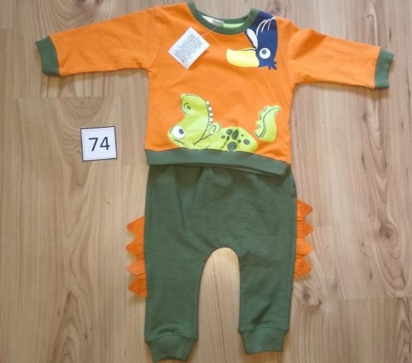 Nowy dres chłopięcy baggy spodnie bluza smok komplet 74...