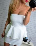 piekna biala sukienka baskinka ZARA...