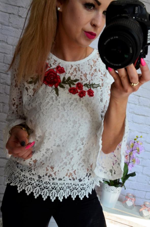biala koronkowa bluzka roza