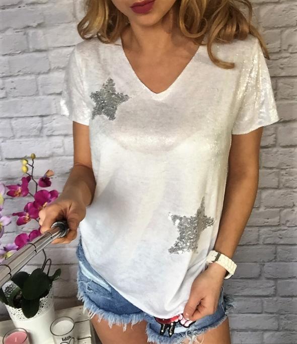 Biała bluzka srebry brokat GWIAZDA