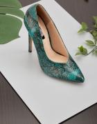 Nowe buty szpilki 38 Lost Ink zielone skóra węża wysokie obcasy...