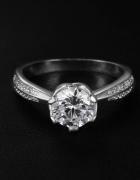 Nowy pierścionek z cyrkonią posrebrzany srebro 925 elegancki re...