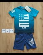 Nowy niebieski komplet koszulka spodenki krótkie letni 104 110...
