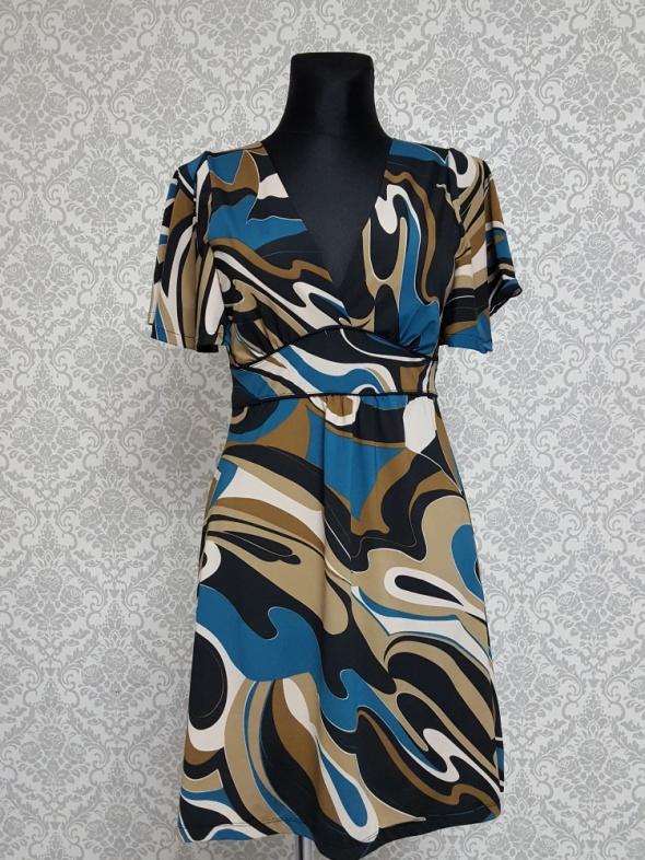 kolorowa sukienka w wzory z wiązaniem C&A...