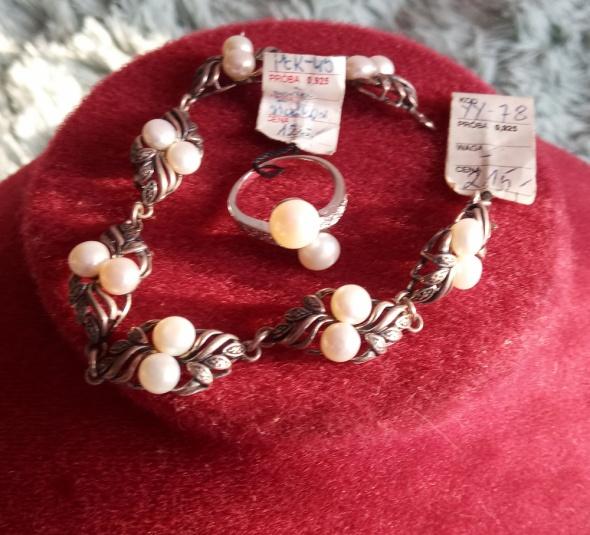 Komplet srebrny pierścinek i bransoletka z perłami...