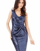 Granatowa cekinowa sukienka sylwestrowa z efektownym marszczeniem w talii