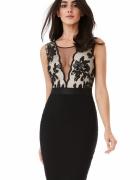 Czarna ołówkowa sukienka wieczorowa midi z głębokim dekoltem z ...