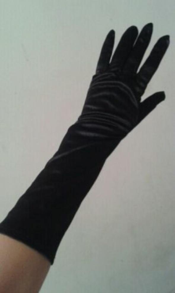 Nowe Czarne gotyckie wieczorowe rękawiczki satynowe atłasowe