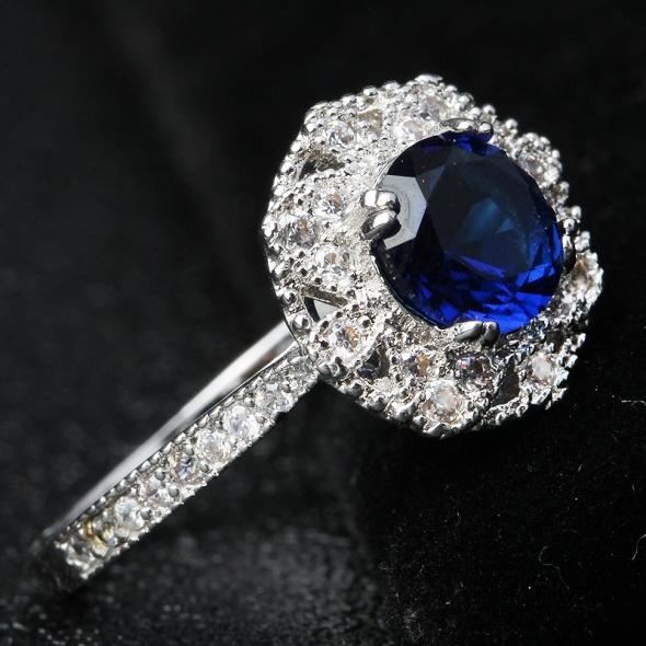 Nowy elegancki królewski pierścionek posrebrzany srebrny kolor ...