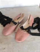 Zara nowe skórzane baleriny nude beżowe z kokardką wiązane sznu...