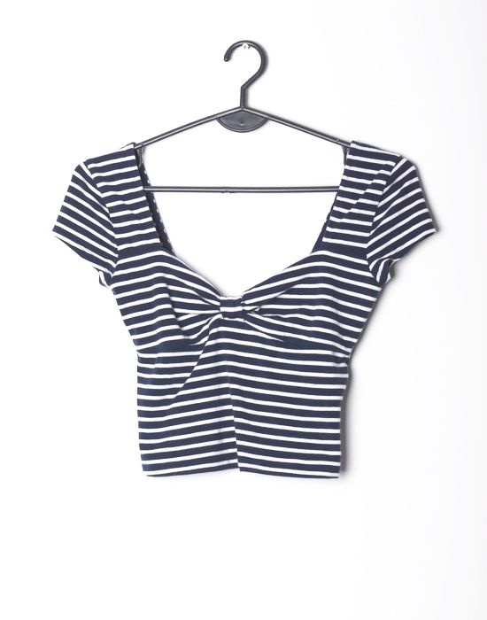 Abercrombie & Fitch crop top marynarski paski XS S 34 36...