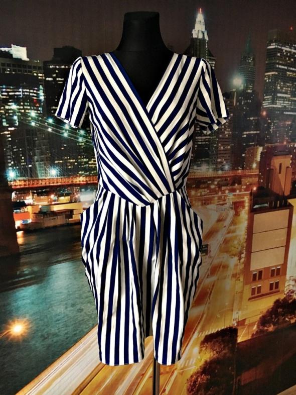 closet sukienka midi modny wzór paski paseczki zip 38 M...