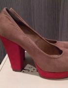 Czółenka beżowo czerwone dwukolorowe Catwalk skóra 38...