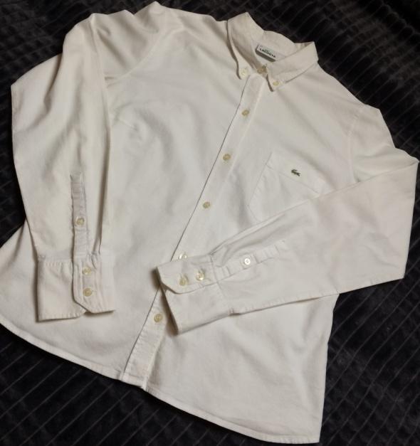 Lacoste biała koszula damska z długim rękawem
