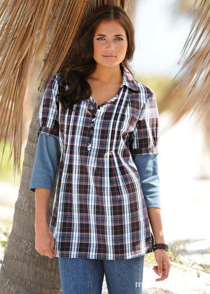 L NOWA Bluzka tunika w kratkę jak podwójna