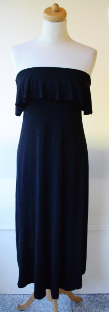 Sukienka Czarna Falbanka Long Dłuższy Przód S 36 G...