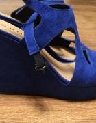 Niebieskie sandały 37 na koturnie...