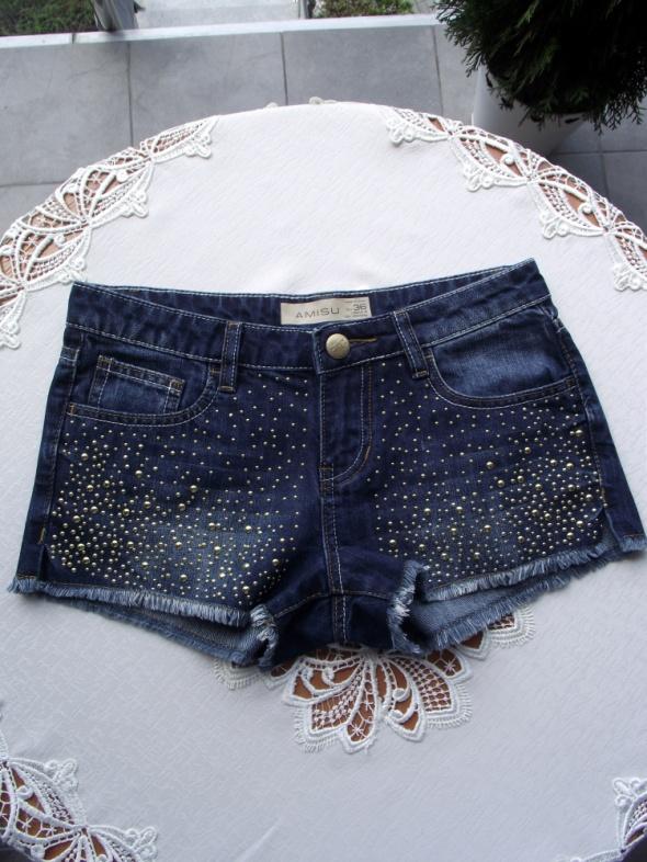 Krótkie spodenki szorty damskie jeansowe Amisu 36 S...