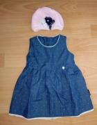 Granatowa sukienka 68 plus czapeczka ażurowa nowe...