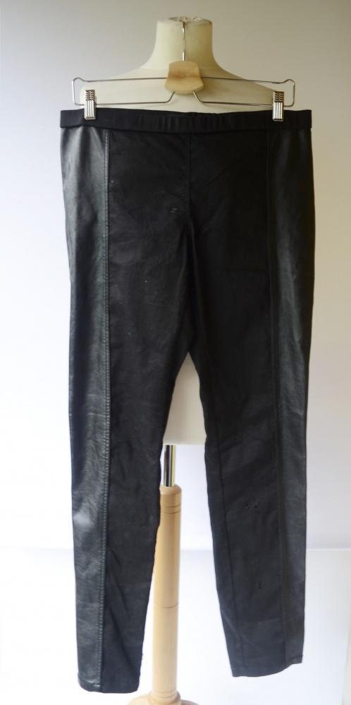 Spodnie Tregginsy Czarne H&M Wstawki Skórzane XL 42...