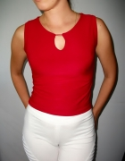 Czerwona dopasowana bluzka seksi bez rękawów top crop bluzka wysoki stan top czerwony blogerski xs s