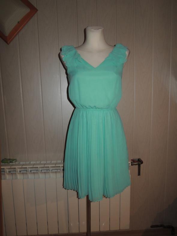 miętowa elegancka plisowana sukienka F&F...