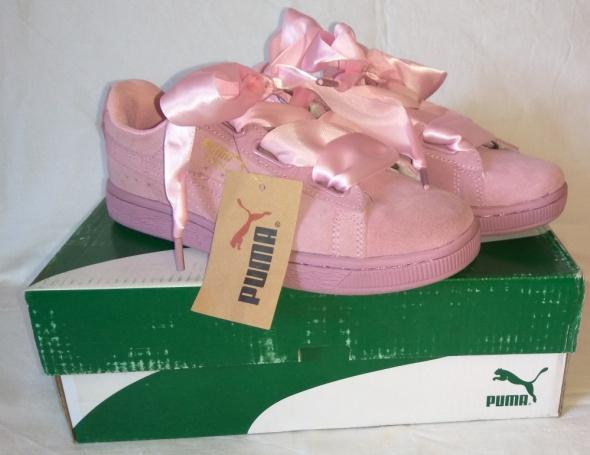 Nowe różowe zamszowe adidasy Puma Sneakersy Suede kokardki 36...