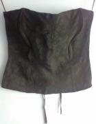 gorsetowa bluzka gorset top wiązany regulowany koronkowy wzór...