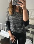 Szary sweterek bluzka melanż skórzane rękawy oversize L XL rese...