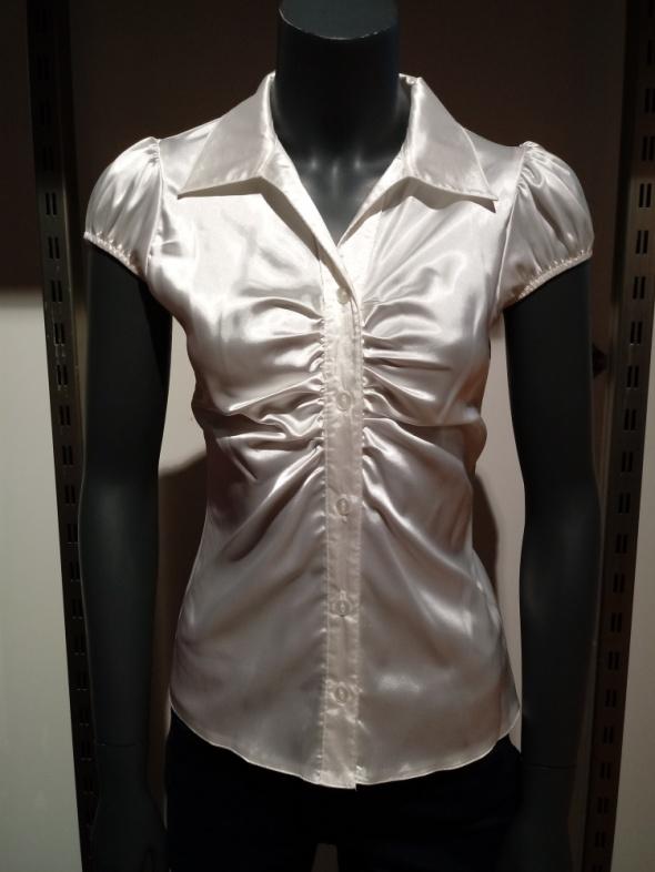 Biała Satynowa Elegancka Koszula S...