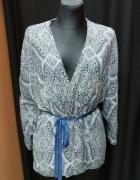 Żakiet kimono narzutka granat biały H&M 40 L...