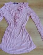Bluzka pastelowy róż żabot 38 40 M L...