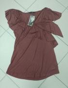 Brązowa bluzka falbana viscoza Reserved L...