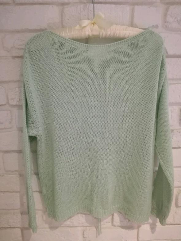 Miętowy sweterek z wiązaniem na plecach XS S 34 36