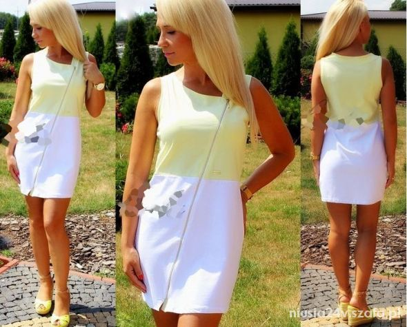 biała sukienka na zamek dresowa HIT 2014