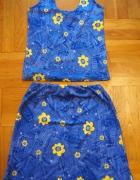 Niebieski letni komplet w kwiaty...