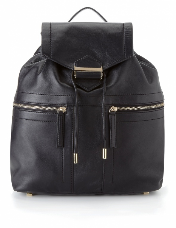 Nowy elegancki czarny plecak torba skóra naturalna