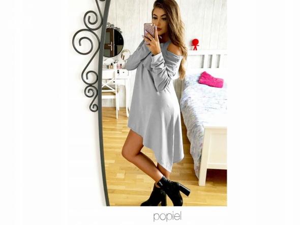 Sukienka asymetryczna z hiszpanką i odkrytymi ramionami rozmiar...